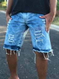 Bermudas jeans - lisa e rasgadas