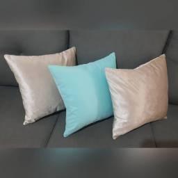 Almofadas em Veludo e Suede - Pérola / Azul Turquesa