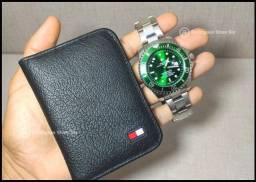 Kit Relógio Rolex Hulk/Carteira TommyHilfiger a pronta entrega