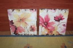 Título do anúncio: Conjunto Quadro Flores / 2 peças em MDP Rosa 30 cm x 30 cm x 3 cm
