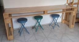 Conjunto de 6 mesas de pallets / 15 banquetas