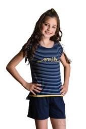Título do anúncio: Pijama Infantil Feminino em Malha Listrada