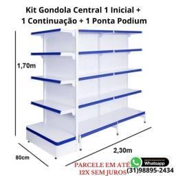 Kit de gondola, gôndolas de Centro, gondulas kit inicial,continuação e ponta podium