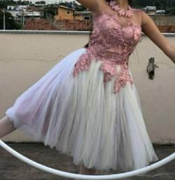 Vestido Ballet Tutu Romântico Rosa com Branco