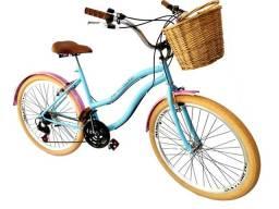 Bicicleta feminina aro 26, retrô nova com 18 marchas