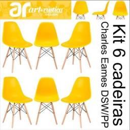 Kit 06 cadeiras Eames Wood DSW/PP - Amarela - Garantia + NF