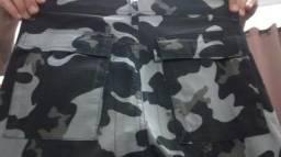 Calça cargo tática militar camuflada preto e cinza 100,00 reais