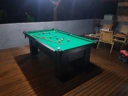 Mesa Charme de Sinuca e Jantar Cor Preta Tecido Verde Mod. YDNM8719