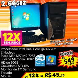 Dual Core 2.66GHz Computador Intel PC 12x R$ 45,75