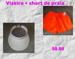 Viseira + short de praia
