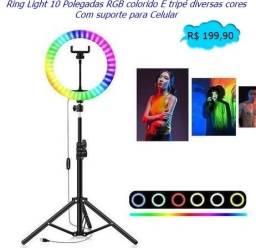 Ring Light 10 Polegadas RGB colorido e tripé com suporte para Celular Entrega Grátis!