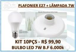 Kit 10 - Plafonier E27 + Lâmpada 7W