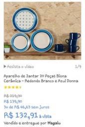 Aparelho de Jantar 20 Peças Biona Cerâmica - Redondo Branco e Azul Donna.