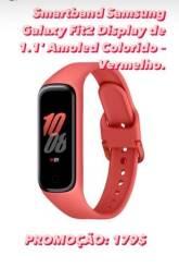 Smartband Samsung Galaxy Fit2 Display de 1.1 Amoled Colorido ? Vermelho.