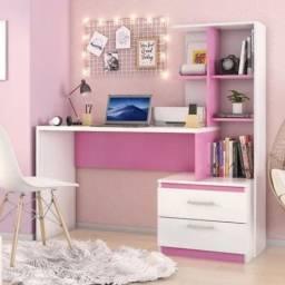 Título do anúncio: Escrivaninha com Estante 2 Gavetas Poli Poliman Móveis Branco/Rosa