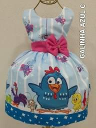 Vestido Temático Infantil Galinha Pintadinha azul