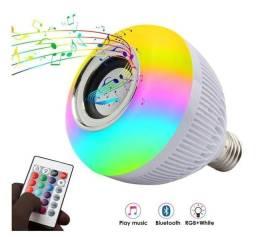 Lâmpada Bluetooth Rgb Colorida 12w Música Com Controle Remoto