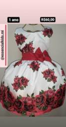 Vestido Infantil Flores vermelhas