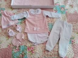 Saída de Maternidade tricô rosa e branco (Nova)