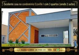 Casa com 3 quartos sendo 2 suítes no Ecoville, alta qualidade, aceita financiamento