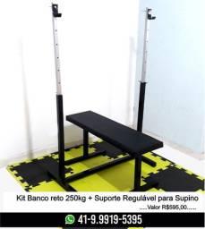 Kit Suporte para Supino+Banco Reto Musculação Novo! Fabricação Própria