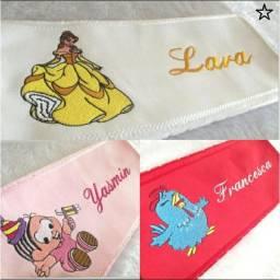 Toalha Lavabo Bordado Personagem Infantil Fem/masc