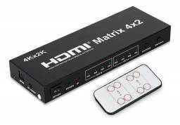 Matrix hdmi 4x2 switch splitter 1080p 4k 3d com controle