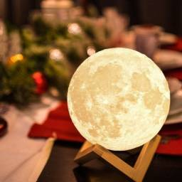 Luminária 3D Touch Lua Cheia Abajur Led Decoração Usb Rgb
