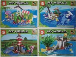 Minecraft 621+ Peças Kit 4 Modelos Diferentes Ilhas Acompanha 8 Personagens