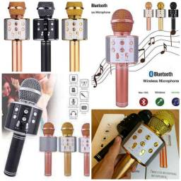 Microfone bluetooth karaokê com som