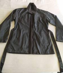 jaqueta de napa com zíper, blusa de tecido com botões (preto) - Promoção!!