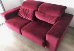 Sofá Veludo Vermelho Bordo