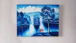 Quadro Tela Lago Azul