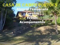 Casa de campo Portoes temporada , eventos , festas, confraternizações