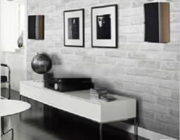 Papel de parede de tijolinho cinza