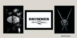 Quadros de baterista decorativos
