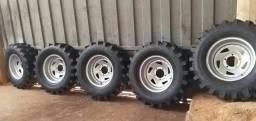 Jogo de rodas mangles com pneus