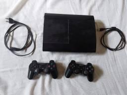 Ps3 Desbloqueado Com Jogos, Dois Controles E Fio Carregador