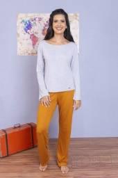 Título do anúncio: Pijama Longo Feminino Adulto em Viscolycra - Cor: Mostarda com Listra