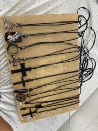 Acessórios masculinos, uma renda extra / lote 12 colares + 8 pulseiras couro legítimo