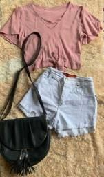 Croped shorts e bolsa