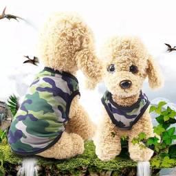 Roupinha Regata Camuflada para cães pets