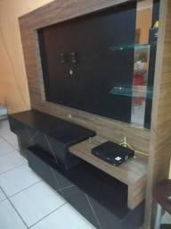 """Rack com painel para TV até 55"""" em madeira semi novo"""