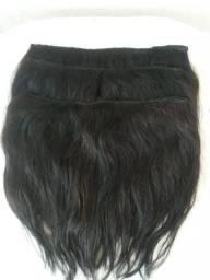 Mega hair 3 faixas de cabelo humano castanho escuro
