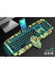 Kit Teclado Mouse Gamer Iluminado Camuflado Com Fio