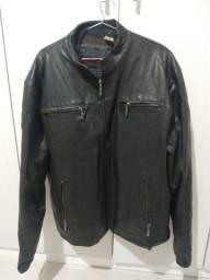 Jaqueta de couro legítimo masculina GG