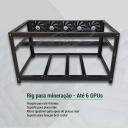 Rig para Mineração - p/ até 6 GPUs Placas de Vídeo - RTX 3070 - RTX 3060 - RX 6800