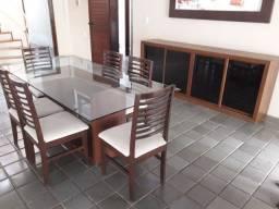 Conjunto mesa de vidro e buffet de Madeira