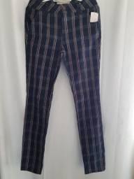 Calça jeans quadriculada tam 36 e 38