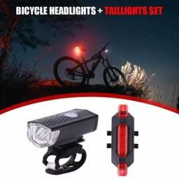 kit novo recarregavél completo luzes para bike farol lanterna dianteiro + led traseiro